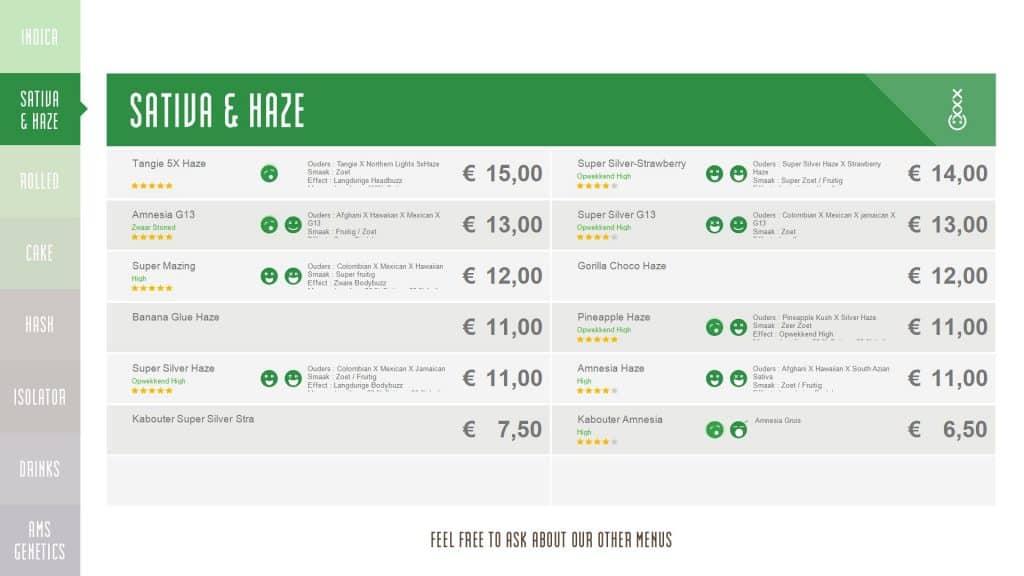 Coffee shop menu Amsterdam.