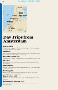 List of Day trips in the Lonely Planet Amsterdam travel guide book.