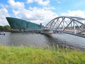 Walk on bridge towards Nemo science museum