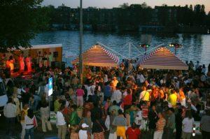 Salsa night along the river Amstel