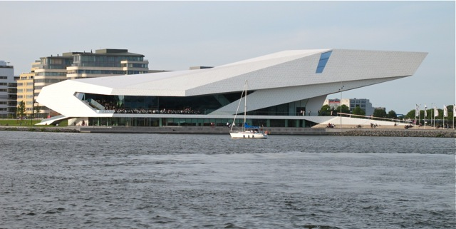 EYE Film Institute Netherlands or the newly built EYE Film museum across the IJ water in Amsterdam. Design by the Vienna office of Delugan Meissl Associated Architects, opened in 2012.