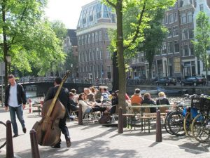 Terrace along Amsterdam canal